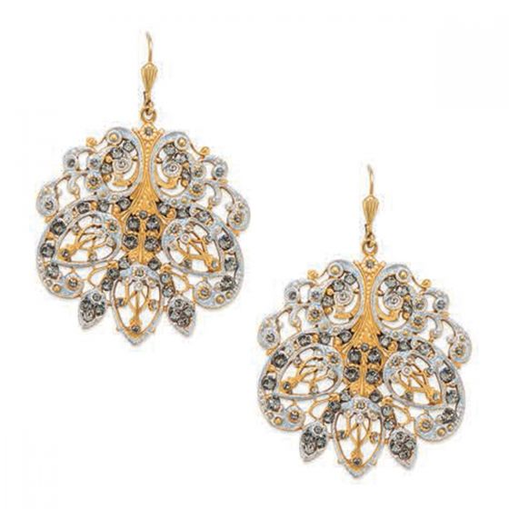 Catherine Popesco Large French Enamel Crystal Earrings - Gold or Silver