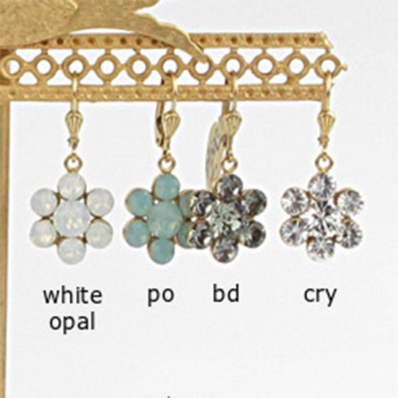 Catherine Popesco Crystal Flower Earrings - Assorted Colors