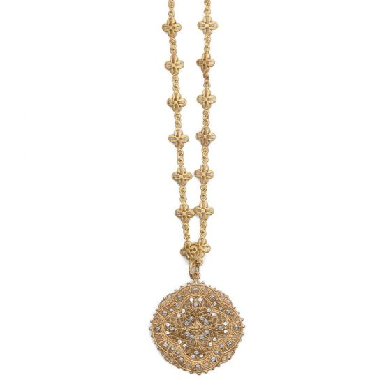 Catherine Popesco Crystal and Gold Filigree Necklace - 18""
