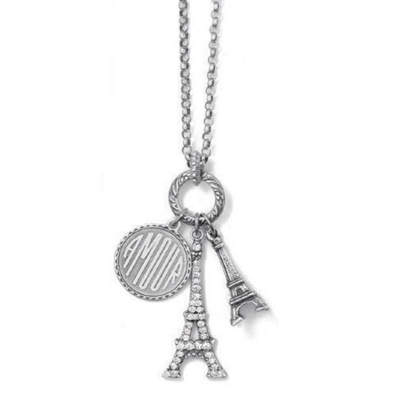 Amour Eiffel Tower Crystal Silver Charm Necklace