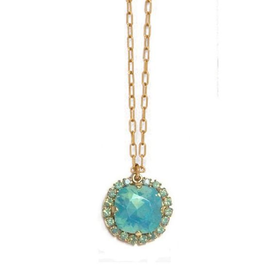 Catherine Popesco Large Stone Necklace With Crystals - Pacific Opal