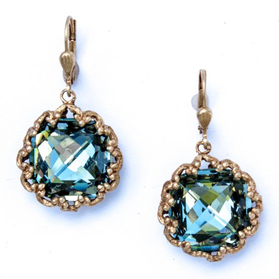 Fancy Ex-large Stone Round Earrings - Indian Sapphire and Gold