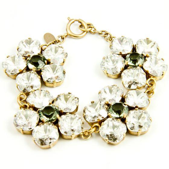 Large Crystal Flower Bracelet - Shade and Gold