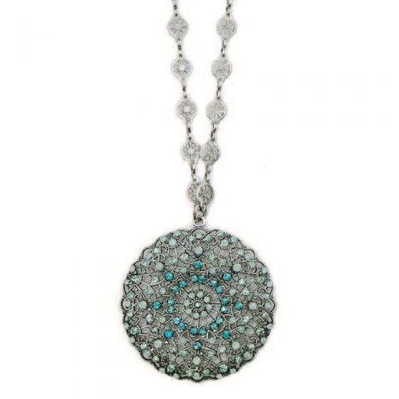 Catherine Popesco Large Lacy Medallion Silver Crystal Necklace - Pacific Opal
