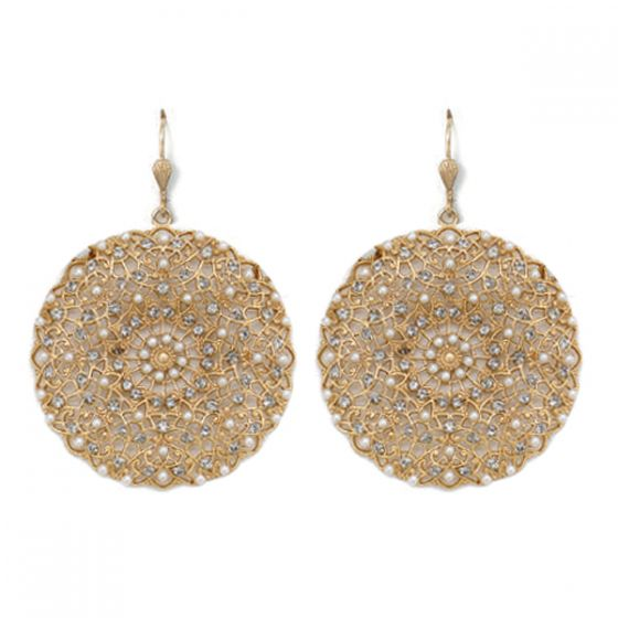 Catherine Popesco Large Lacy Pearl & Gold Round Earrings