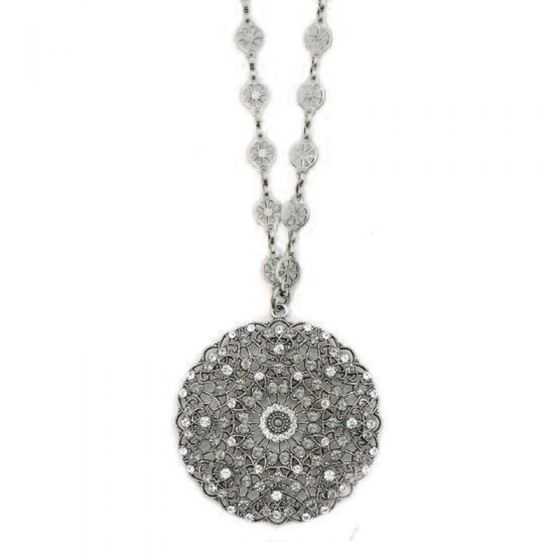 Catherine Popesco Large Lacy Medallion Silver Crystal Necklace - Assorted colors