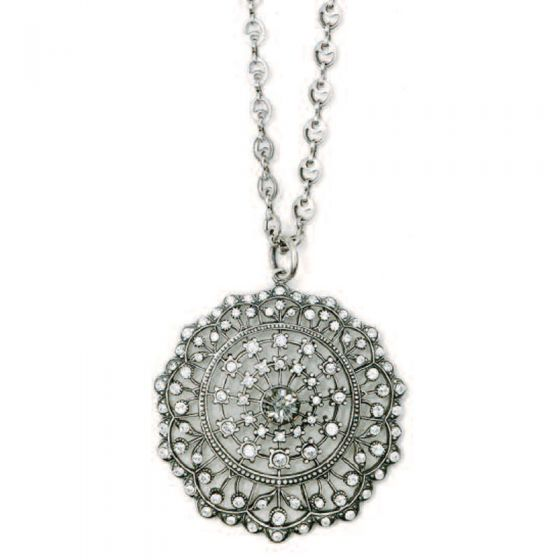 Beautiful Silver Crystal Medallion Necklace by Catherine Popesco