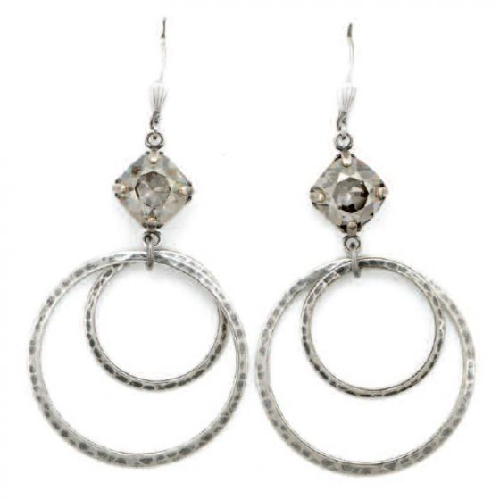 Catherine Popesco Double Hoop Shade Crystal  Earrings in Silver
