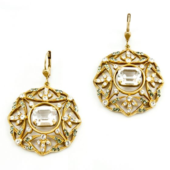 Beautiful Catherine Popesco Gold and Crystal Earrings