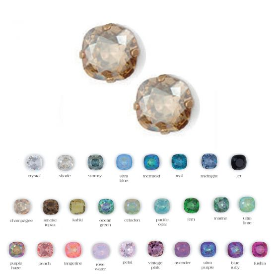 Catherine Popesco Stud/Post Large Stone Crystal Earrings - Assorted Colors