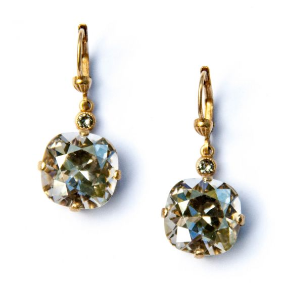 Catherine Popesco Large Stone Crystal Earrings - Shade and Gold