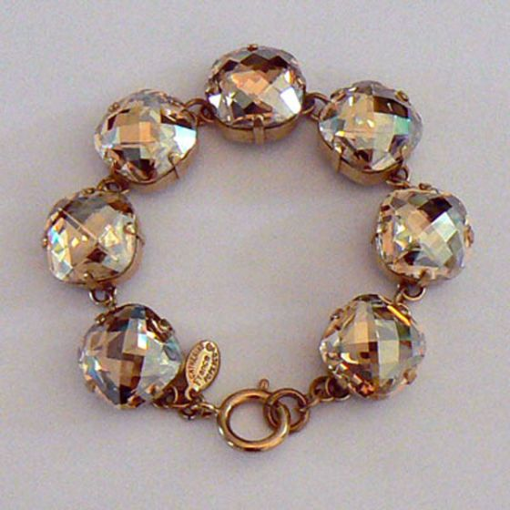 Catherine Popesco Ex-Large Stone Crystal Bracelet - Champagne and Gold