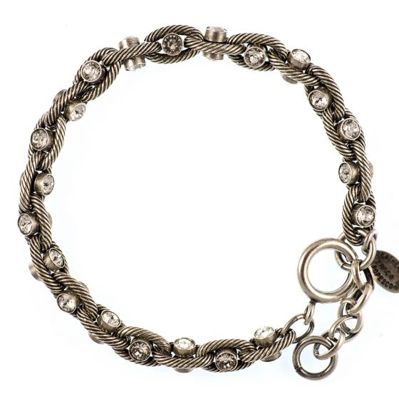 Catherine Popesco Clear Crystal and Silver Rope Chain Bracelet