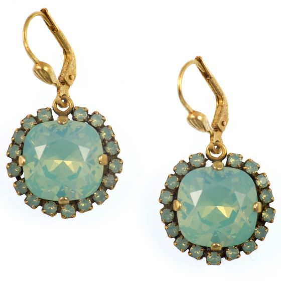 Catherine Popesco Large Stone Earrings With Crystals - Pacific Opal