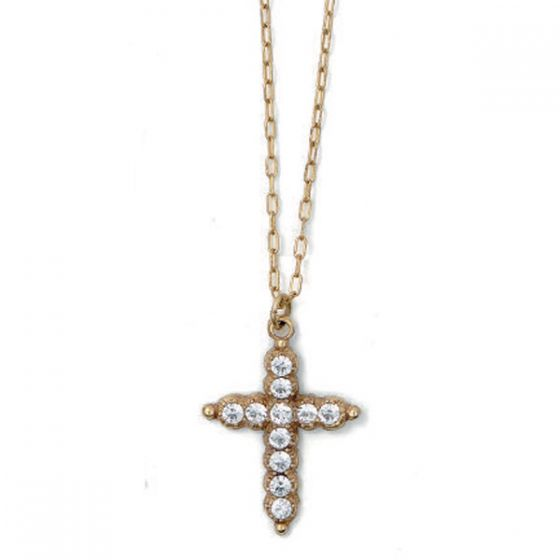 Catherine Popesco Clear Crystal Cross Necklace - Gold or Silver