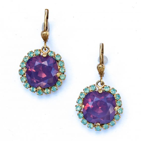 Catherine Popesco Large Stone Earrings With Crystals - Lavender & Pacific Opal