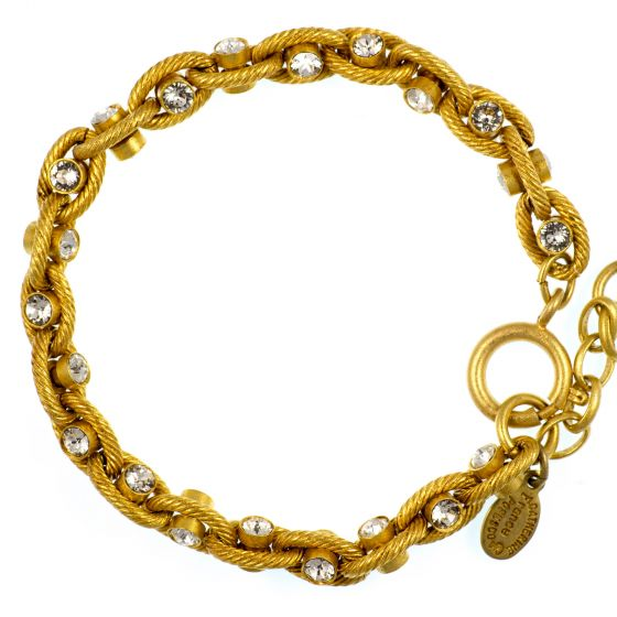 Catherine Popesco Clear Diamond Crystal and Gold Rope Chain Bracelet