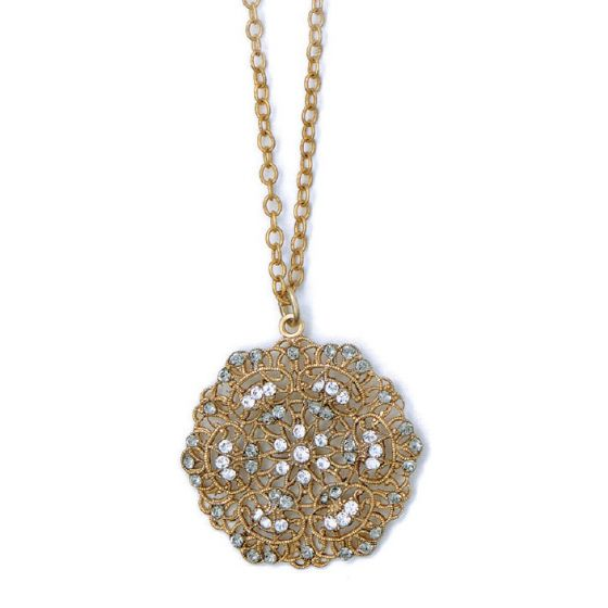 Catherine Popesco Small Lacy Medallion Gold Crystal Necklace