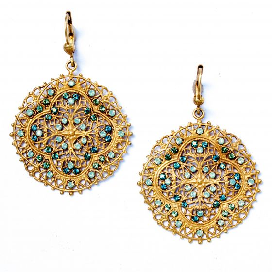 Pacific Opal Crystal and Gold Filigree Earrings - Catherine Popesco