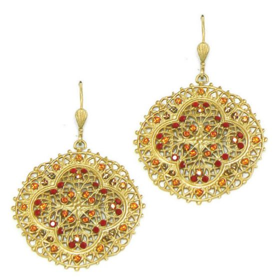 Red Crystal and Gold Filigree Earrings - Catherine Popesco