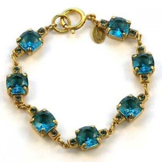 Medium Stone Crystal Bracelet - Teal and Gold