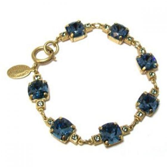 Medium Stone Crystal Bracelet - Midnight Blue and Gold