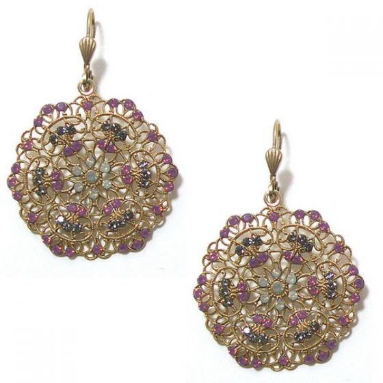 Catherine Popesco Small Lacy Crystal and Gold Round Earrings - Lavender