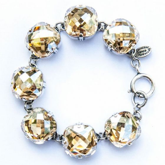 Catherine Popesco Ex-Large Stone Crystal Bracelet - Champagne and Silver
