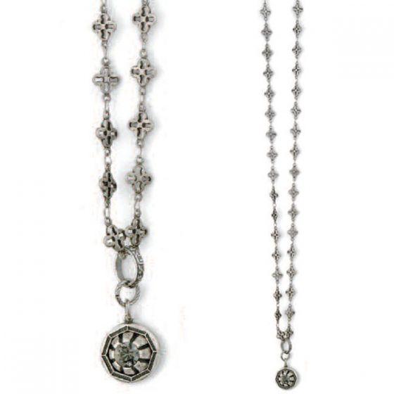 Catherine Popesco Long Chain Silver or Gold Necklace with Crystal - 40""