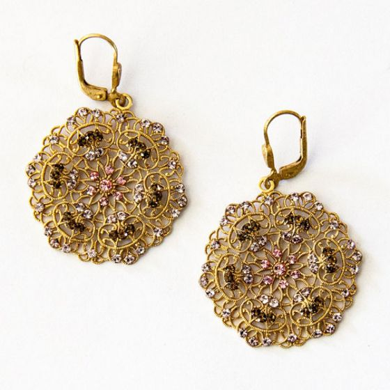 Catherine Popesco Small Lacy Crystal Silver or Gold Round Earrings - Pink