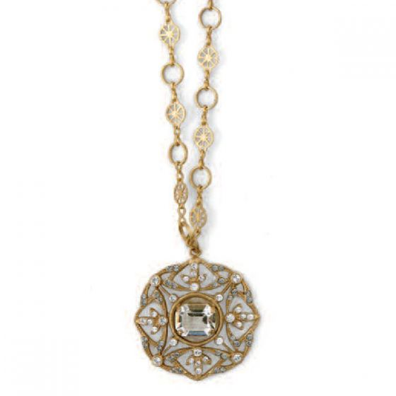 Beautiful Catherine Popesco Gold or Silver Crystal Necklace