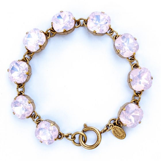 Catherine Popesco Large Stone Crystal Bracelet - Pink Rosewater and Gold