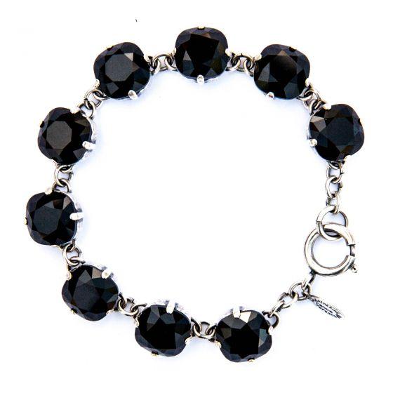 Catherine Popesco Large Stone Crystal Bracelet - Jet Black & Silver