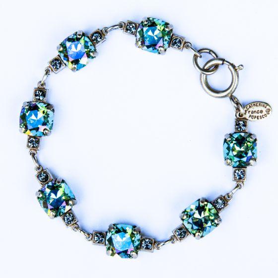 Medium Stone Crystal Bracelet - Ocean Green and Silver