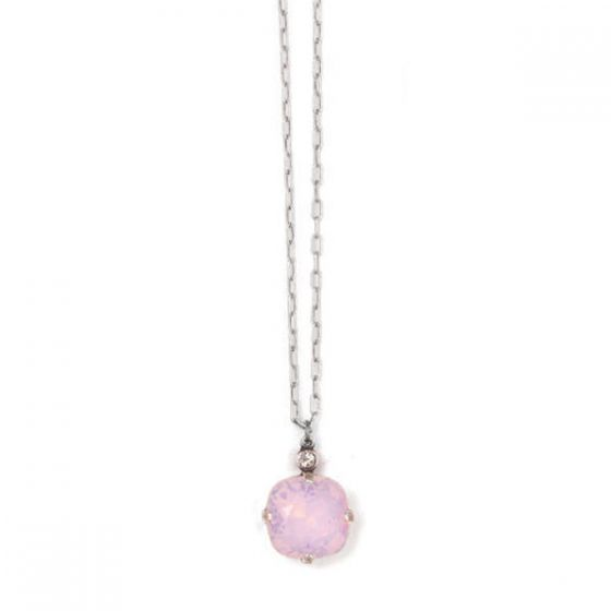 Catherine Popesco Large Stone Crystal Necklace  - Rosewater Pink and Silver