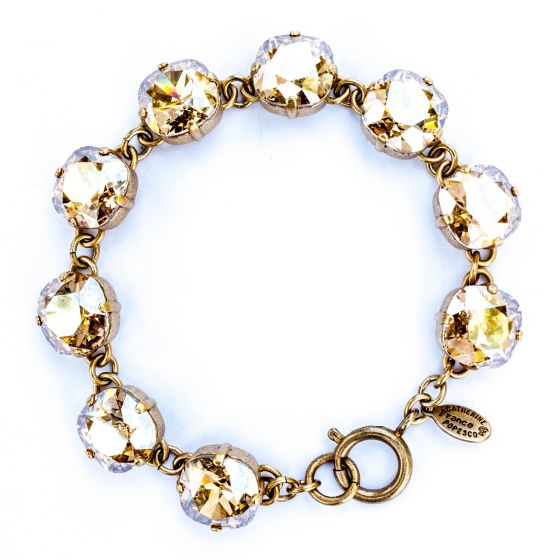 Catherine Popesco Large Stone Crystal Bracelet - Champagne and Gold