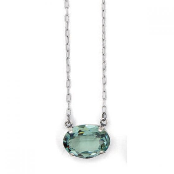 Oval Stone Crystal Necklace - Marine & Silver