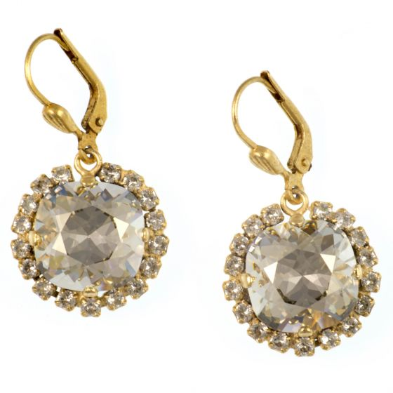 Catherine Popesco Large Stone Earrings With Crystals - Shade and Gold