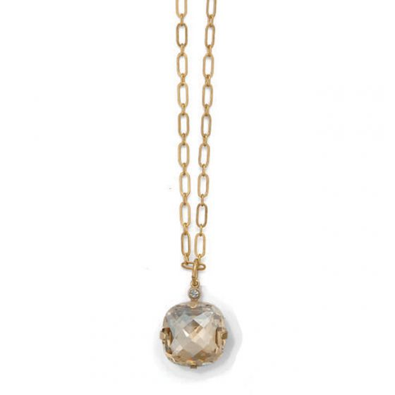 Catherine Popesco Extra Large Stone Crystal Necklace - Champagne and Gold