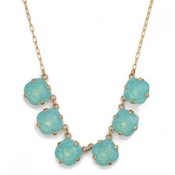 Large Stone Six Crystal Necklace - Pacific Opal & Gold