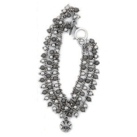 Catherine Popesco Multi Strand Silver Bracelet with Crystal