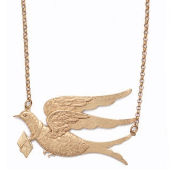 Love Dove Large Bird with Letter Choker Necklace