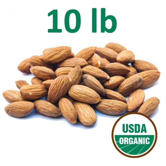 Certified Organic Unpasteurized Almonds - 10 Pounds - Fresh - Free Shipping!