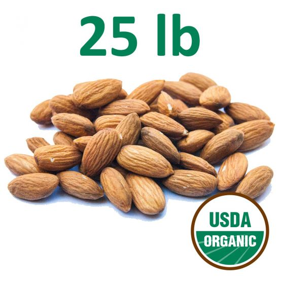 Certified Organic Unpasteurized Almonds - 25 Pounds Free Shipping!