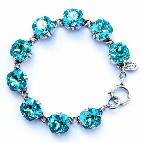 Catherine Popesco Large Stone Crystal Bracelet - Electric Blue and Silver