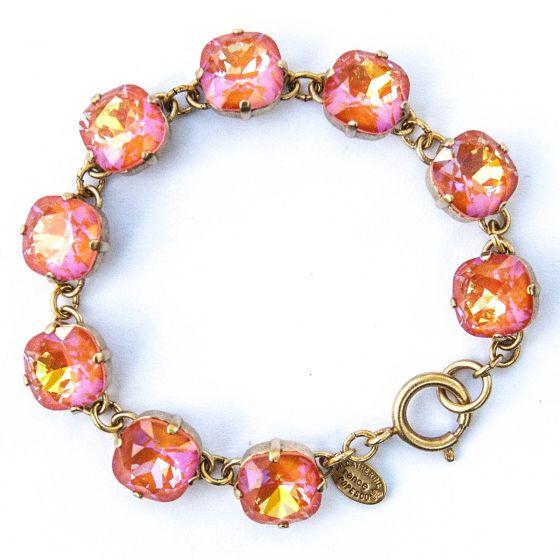 Catherine Popesco Large Stone Crystal Bracelet - Tangerine & Gold