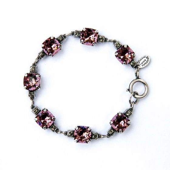 Medium Stone Crystal Bracelet - Vintage Pink and Silver