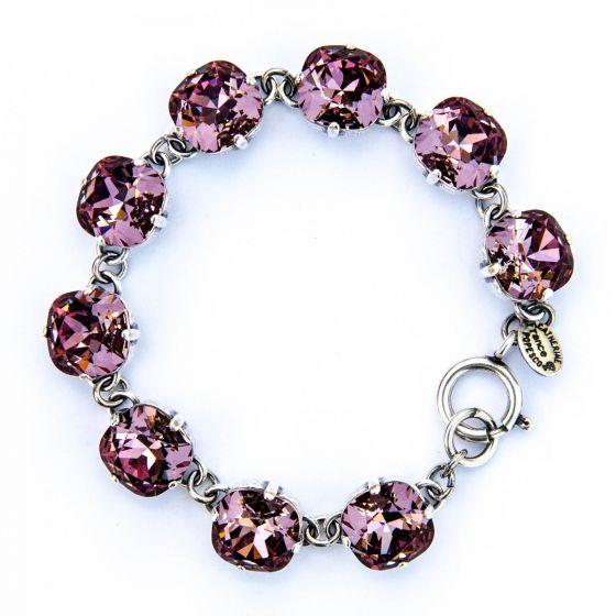 Catherine Popesco Large Stone Crystal Bracelet - Vintage Pink and Silver
