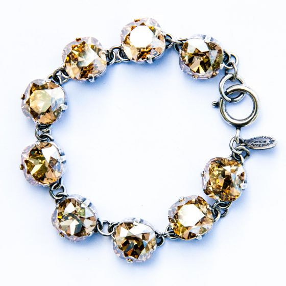 Catherine Popesco Large Stone Crystal Bracelet - Champagne and Silver