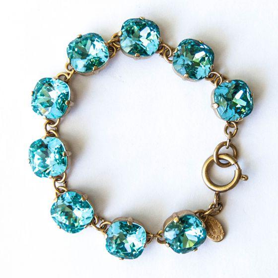Catherine Popesco Large Stone Crystal Bracelet - Electric Blue and Gold